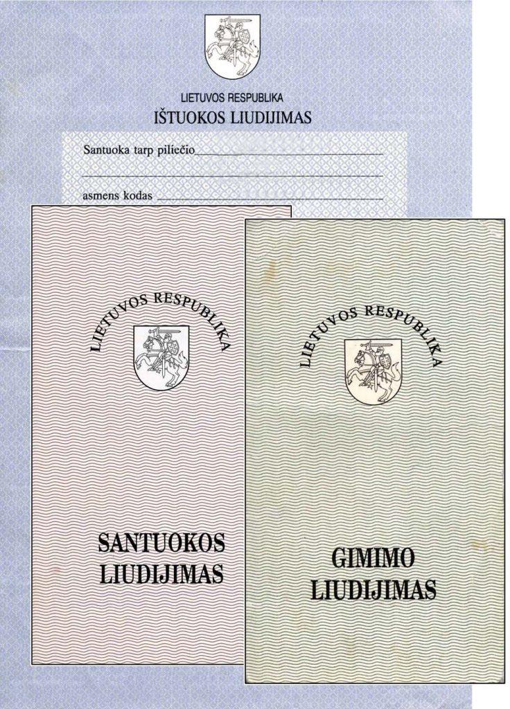 Lietuvos Respublikos metrikiniai liudijimai, 1991 m. | Adomo medis