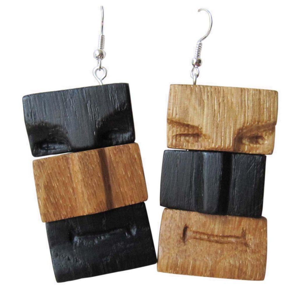 Auskarai (juodasis ir šviesusis ąžuolas, 3 x 6 cm) | Adomo medis