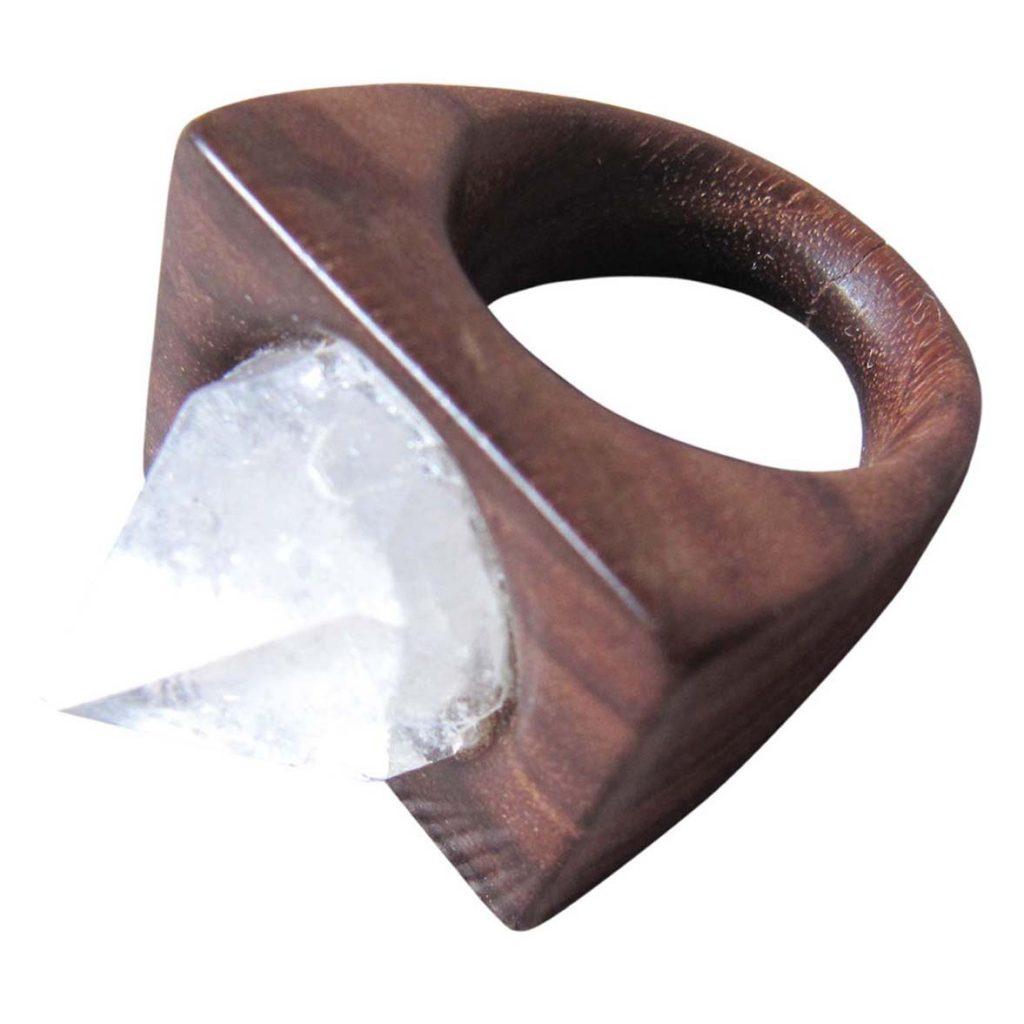 Žiedas su akmeniu (palisandras, deimantas) | Adomo medis