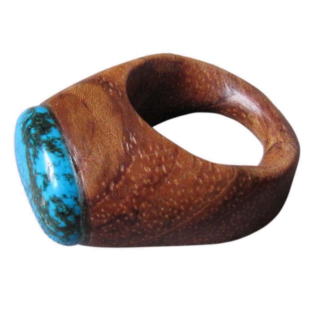 Žiedas su akmeniu (merbau, turkis) | Adomo medis