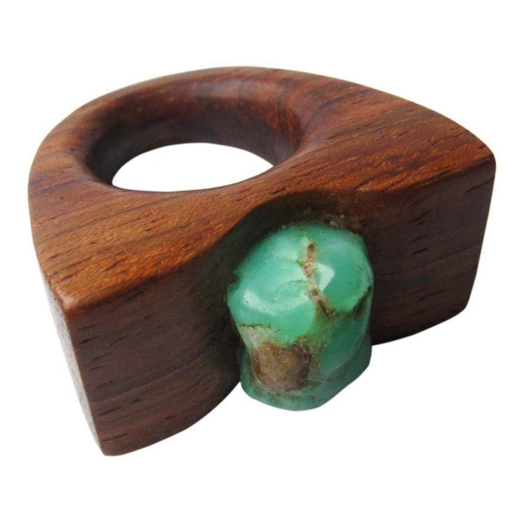 Žiedas su akmeniu (merbau, chrizoprazas) | Adomo medis